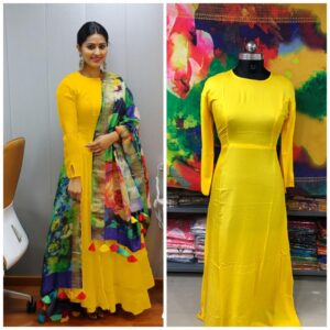 Charming Yellow Rayon Long Frock Gown Dress