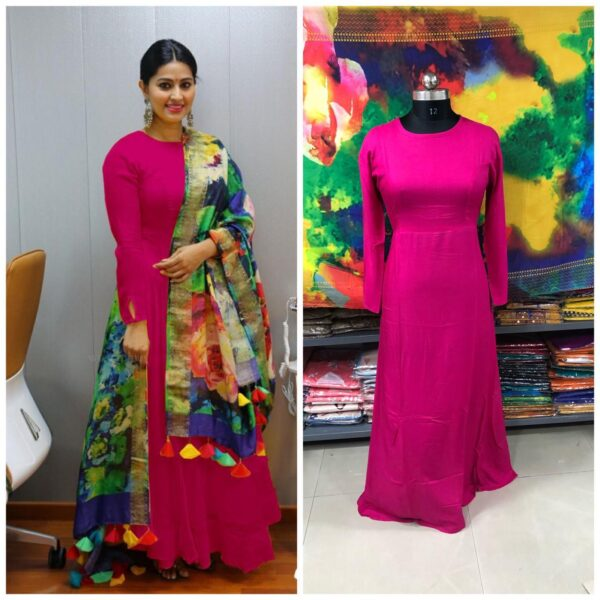 Alluring Dark Pink Colored Rayon Plain Long Frock Gown Dress