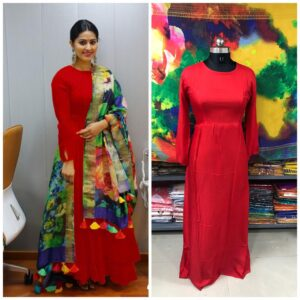 Gorgeous Red Plain Rayon Party Wear Long Frock Gown Dress
