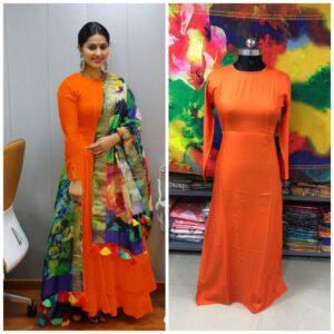 Amazeballs Orange Plain Rayon Party Wear Long Frock Gown Dress