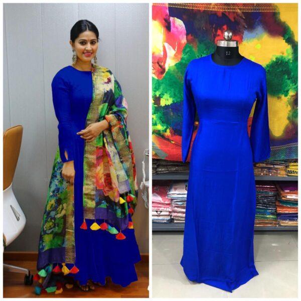 Knockout Royal Blue Plain Rayon Party Wear Long Frock Gown Dress