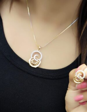 Attractive Artificial Gold Plated White Diamond Necklace Design Set