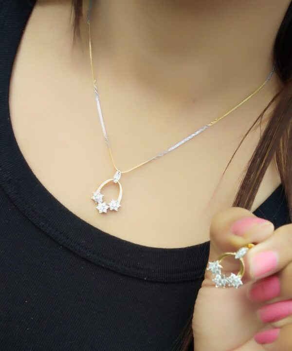 Lovely White Diamond Gold Plated Artificial Necklace Design Set
