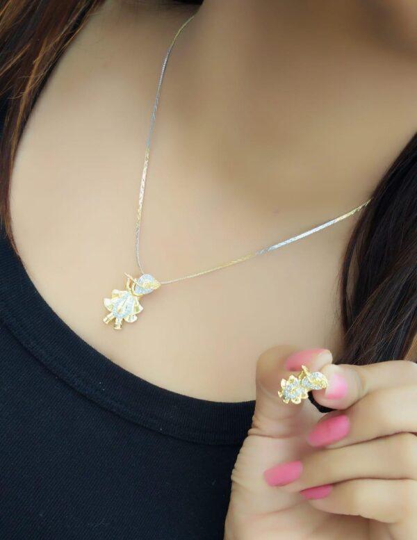 Ravishing White Diamond Gold Plated Artificial Necklace Design Set
