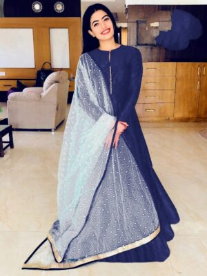 Good-Looking Navy Blue Banglori Silk With Lining Gown
