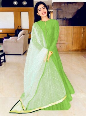 Comely Green Banglori Silk With Lining Gown