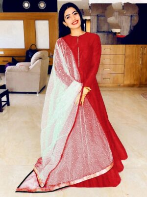 Pretty Red Banglori Silk With Lining Gown