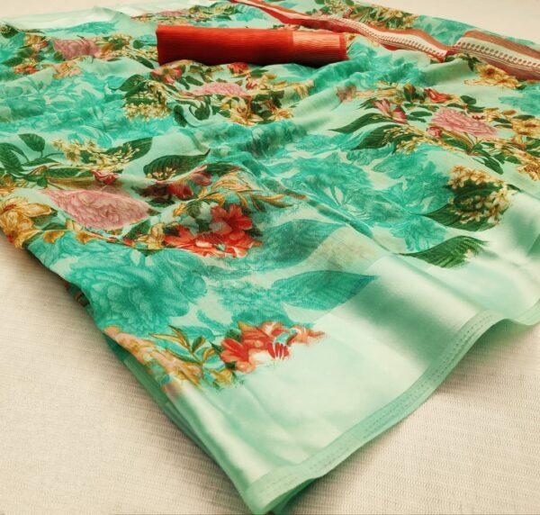 Ravishing Sea Green Cotton Satin Patta Saree