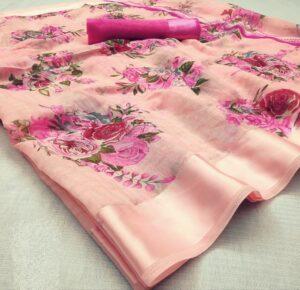 Devastating Peach & Rani Cotton Satin Patta Saree