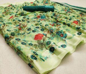 Glorious Green Cotton Satin Patta Saree