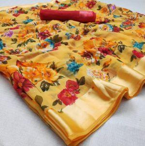 Captivating Mustard Cotton Satin Patta Saree