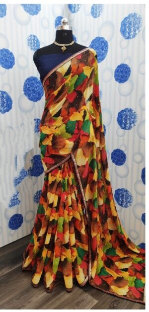 Bewitching Multi Colored Pure Weight Less Printed Saree