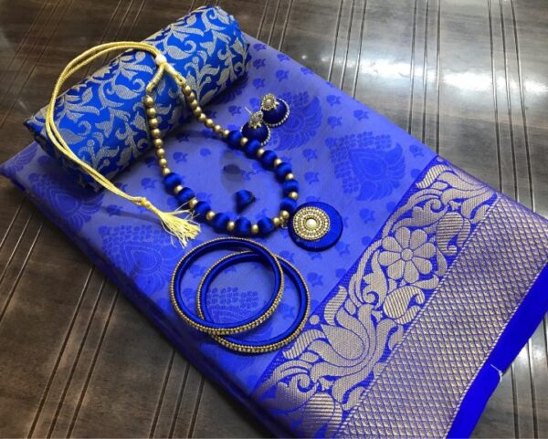 Charming Royal Blue Tusser Silk Saree With Bangles Necklace Earings Set