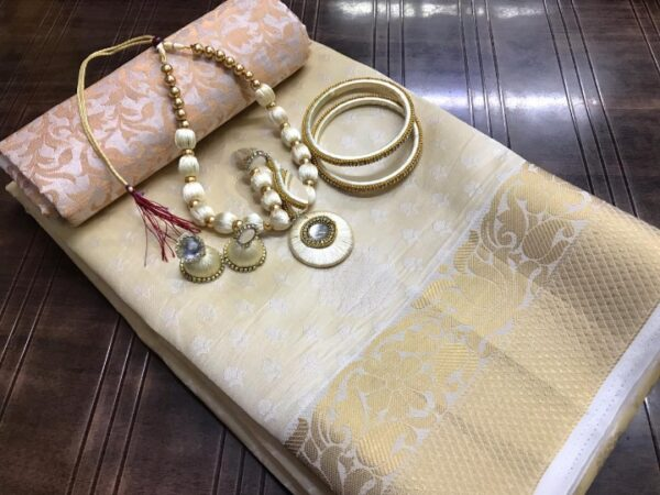 Alluring Cream Tusser Silk Saree With Necklace Bangles Earings Set