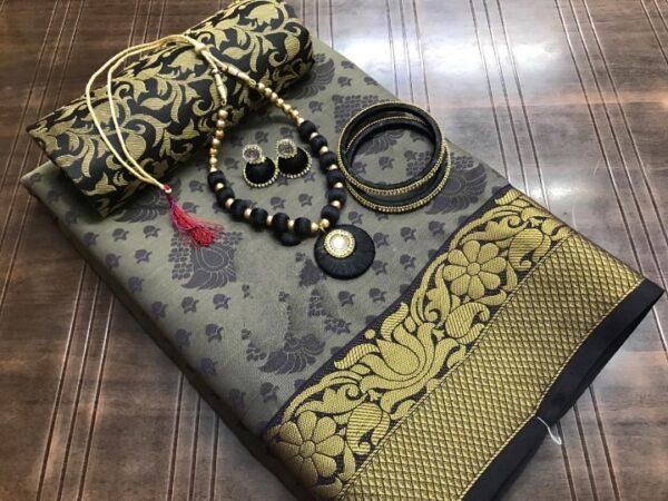 Amazeballs Grey Silk Tusser Saree With Bangles Necklace Earings Set