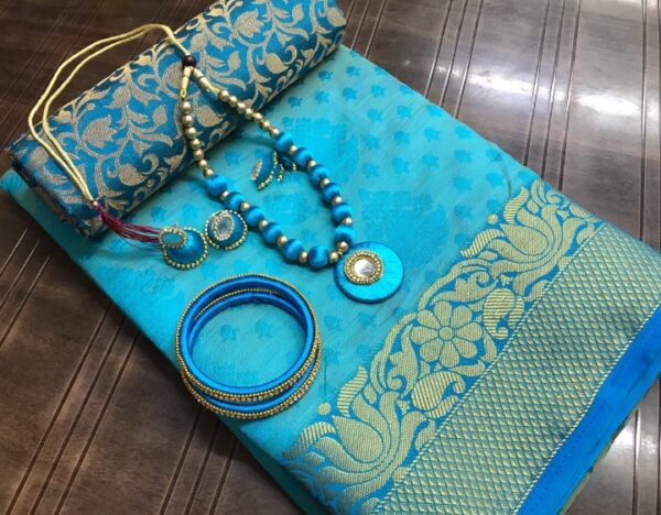 Knockout Sky Blue Tusser Silk Saree With Necklace Earings Bangles Set