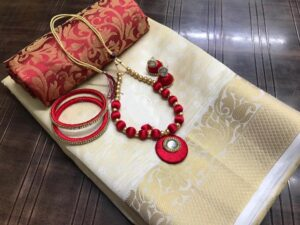 Smashing Cream & Maroon Tusser Silk Saree With Bangles Necklace Earings Set