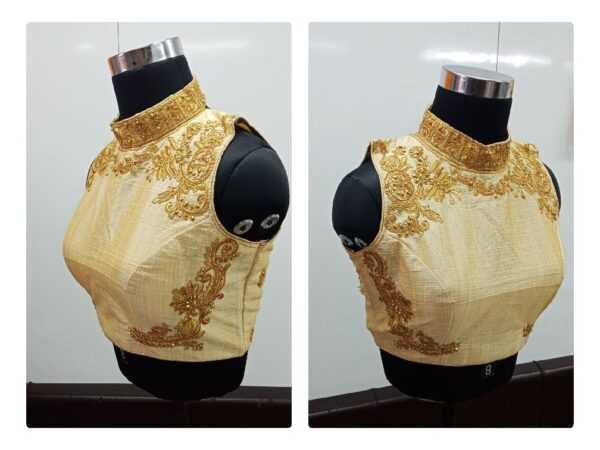 Bootylicious Pretty Golden Fantom With Diamond Thread Work Ready Made Blouse