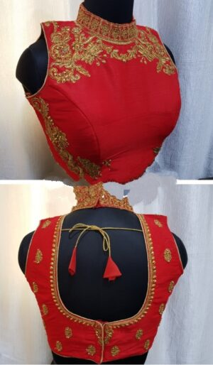 Remarkable Red Fantom With Diamond Thread Work Ready Made Blouse