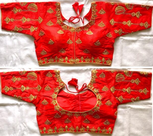 Fabulous Orange Thread Coding With Hand Work Ready Made Blouse