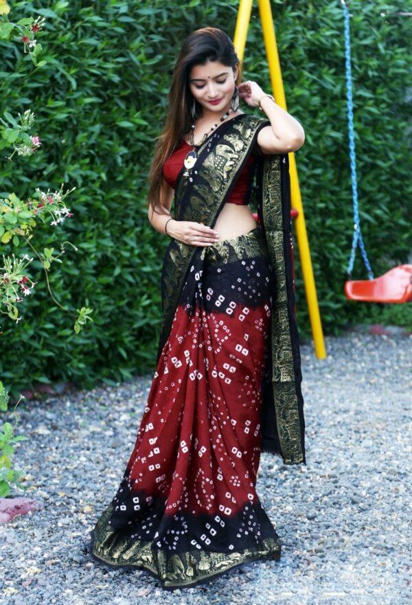 Radiant Navy Blue & Maroon Bandhej Silk With Zari Weaving Border Saree