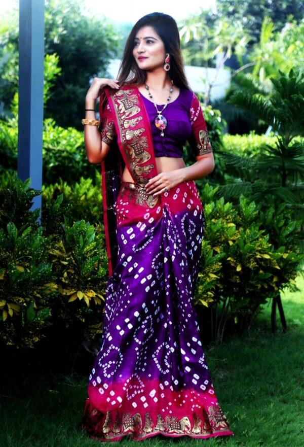Ravishing Rani & Purple Silk Bandhej With Zari Weaving Border Saree