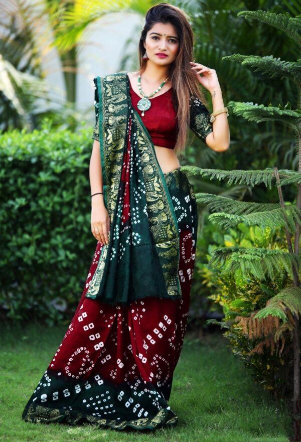 Striking Dark Green & Maroon Bandhej Silk With Weaving Zari Border Saree