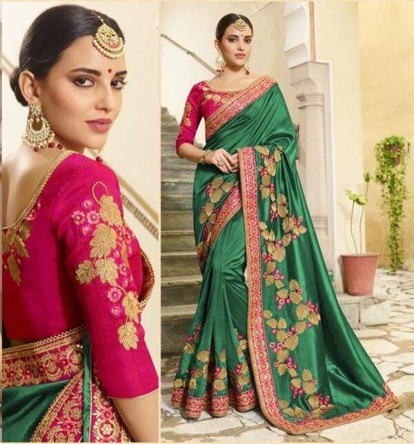 Wonderful Rama Green Vichitra Silk With Embroidered Work Saree