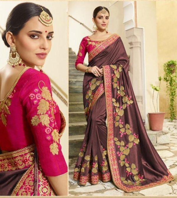Magnificent Chocolate Colored Vichitra Silk With Embroidered Work Saree