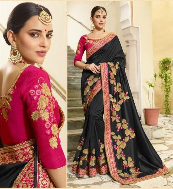 Captivating Black Vichitra Silk With Embroidered Work Saree