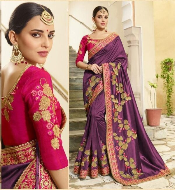 Bewitching Purple Vichitra Silk With Embroidered Work Saree