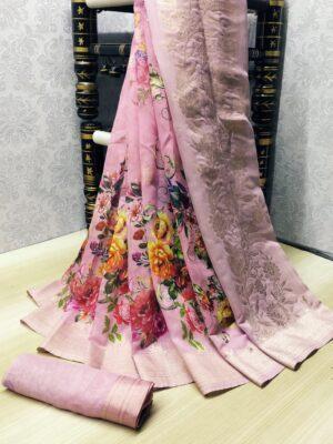 Alluring Pink Banarasi Silk With Digital Print Zari Border Saree