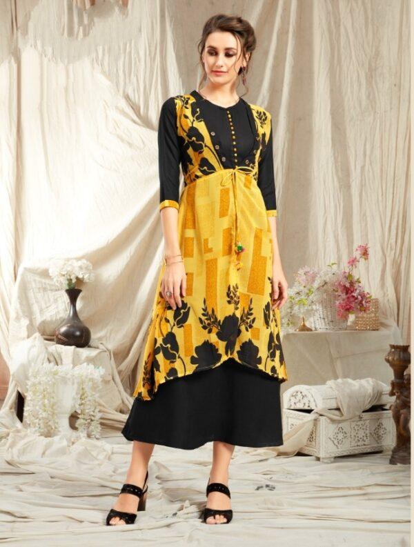 Bootylicious Black & Yellow Georgette Diamond Jacket With Rayon Kurti