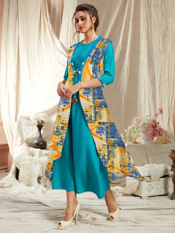 Beauteous Firozi Rayon Kurti With Diamond Georgette Jacket