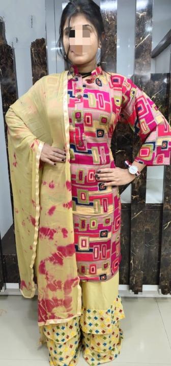 Staggering Pink Rayon Printed Ready Made Plazo Kurti