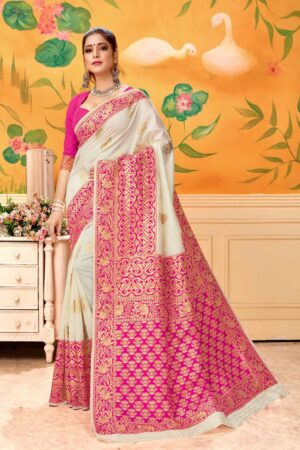 Incredible Cream & Rani Banarasi Kota Silk Wedding Wear Saree