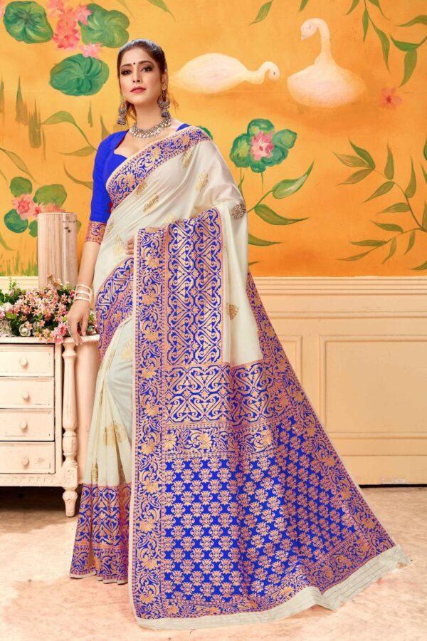 Impressive Cream & Royal Blue Banarasi Kota Silk Wedding Wear Saree