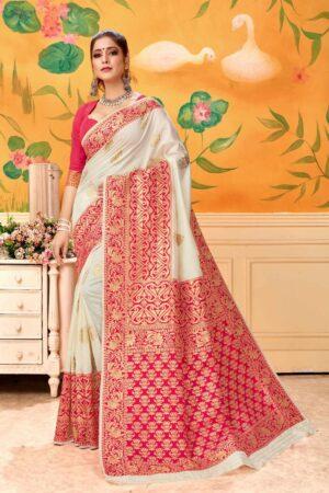 Outstanding Red & Cream Banarasi Kota Silk Party Wear Saree