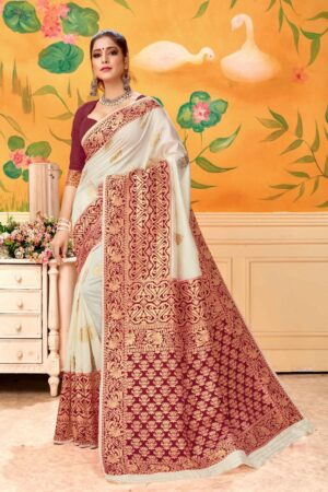 Astonishing Maroon & Cream Banarasi Kota Silk Saree For Party Wear
