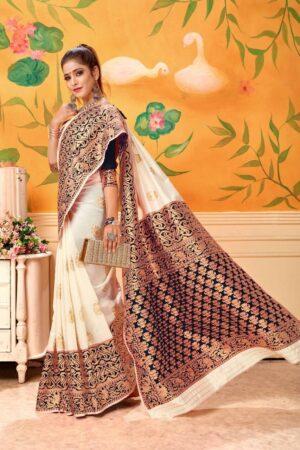 Marvellous Cream & Black Banarasi Kota Silk Wedding Wear Saree