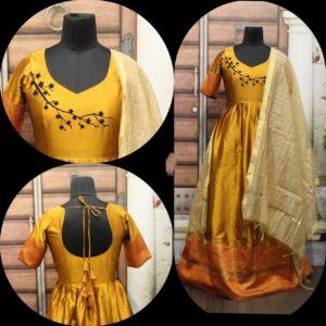 Mind-Boggling Yellow Cotton Sartin With Gotta Zari Border Gown
