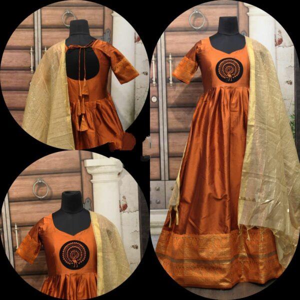 Mind-Blowing Mustard Cotton Sartin With Gotta Zari Border Gown