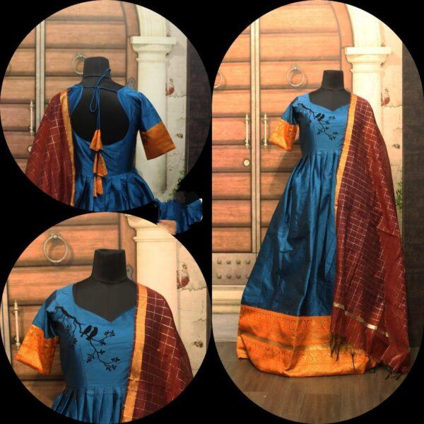 Fab Firozi Sartin Cotton With Zari Gotta Border Gown