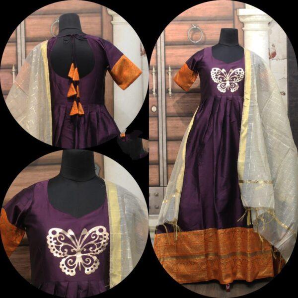 Super Voilet Cotton Sartin With Zari Gotta Border Gown
