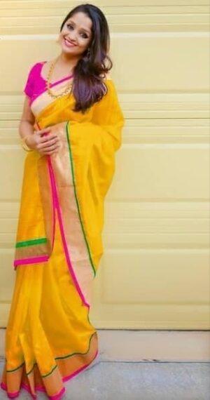 Beautiful Yellow Designer Chanderi Silk Party Wear Saree