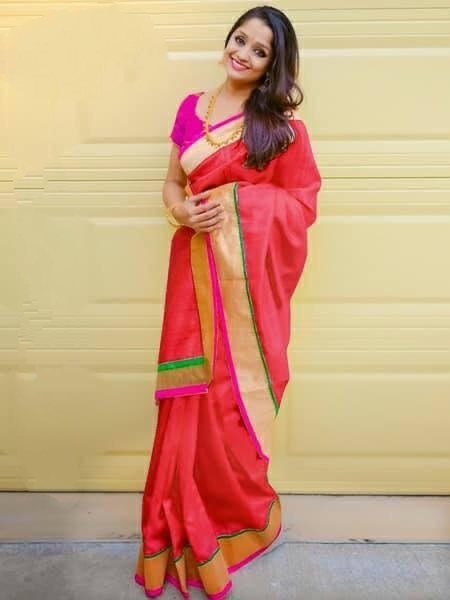 Attractive Majesty Red Colored Chanderi Silk Plain Saree
