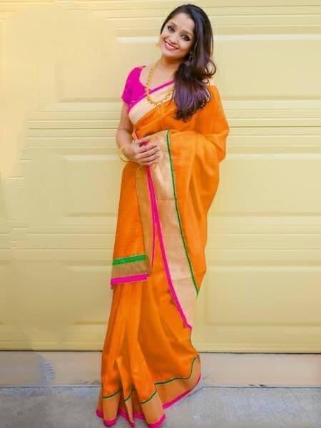 Lovely Mustard Colored Chanderi Silk Plain Saree