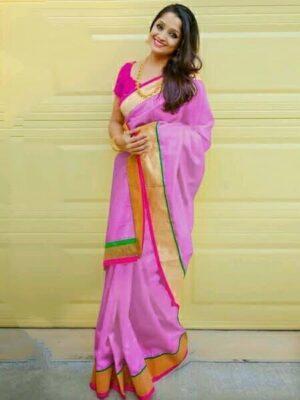 Good-Looking Light Purple Chanderi Silk Plain Saree