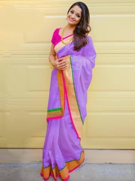 Comely Purple Colored Chanderi Silk Plain Saree