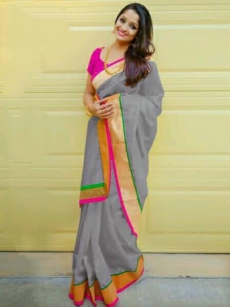 Pretty Grey Chanderi Silk Plain Saree